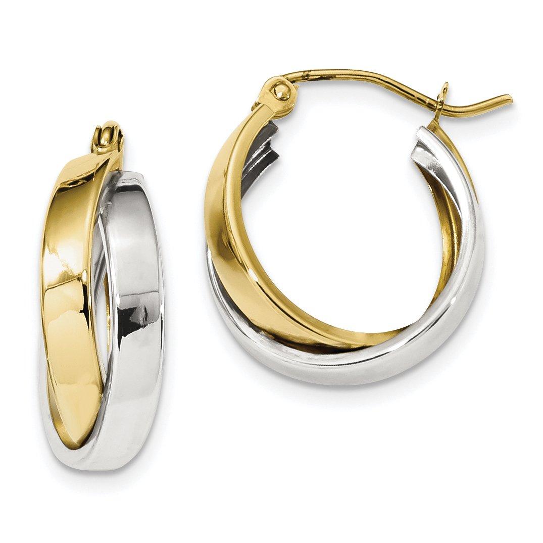 ICE CARATS 10k Two Tone Yellow Gold Double Hoop Earrings Ear Hoops Set Fine Jewelry Gift Set For Women Heart