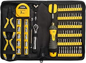 KER 86 in 1 Home & Garage Multi Tool Kit Set, Family essential portable tool set for daily maintenance