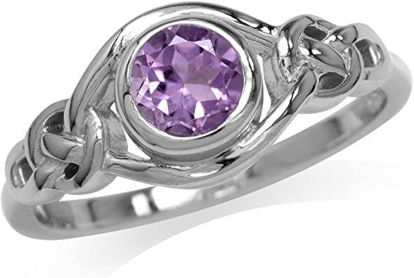 Multiple Sizes and Natural Gemstones 925 Silver Plated Celtic Brand New Ring
