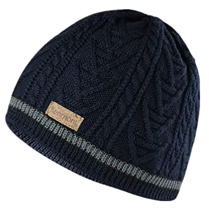 1dd452136dc6 Amazon.com : Kenmont Men Jacquard Knit Wool Winter Beanie Cap Camping  Hiking Outdoor Ski Hat (Color: Navy Blue) : Sports & Outdoors
