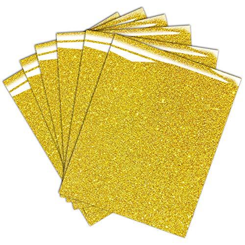 Gold Glitter HTV Heat Transfer Vinyl Bundle for T-Shirt 12 X 10 ( Pack of 6 )