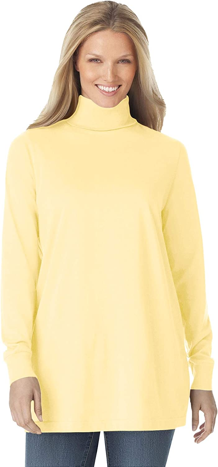 Woman Within Women's Plus Size Perfect Long-Sleeve Turtleneck Tee Shirt