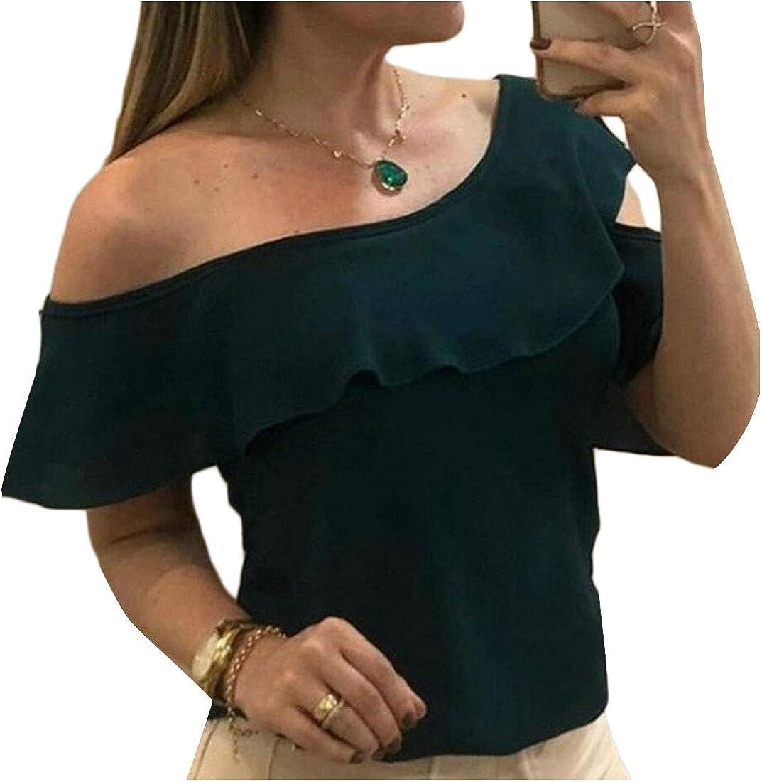 Vska Womens Flounce Chiffon Short Sleeve Sloping Shoulder Shirt Top T-Shirt