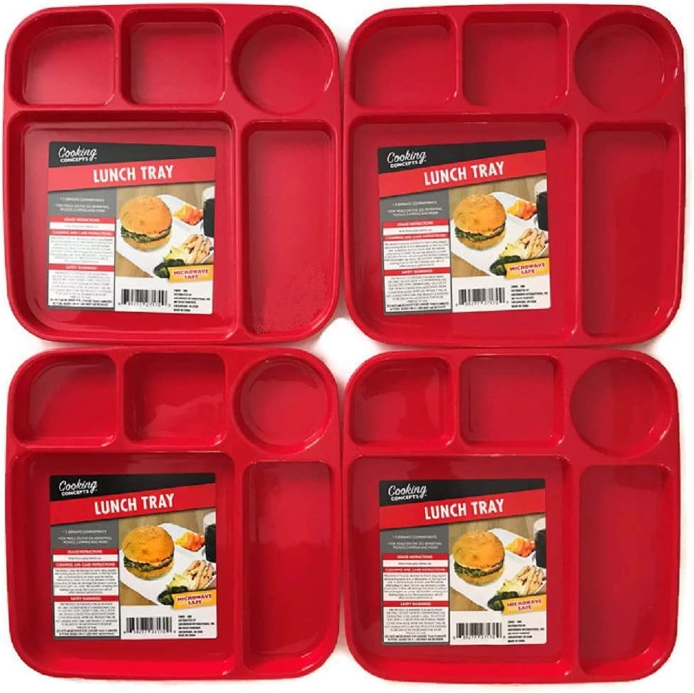 Plastic Divided 5-Section Compartment Lunch Dinner Supper Food Trays, Red, White and Blue, 4-ct Set (Red)