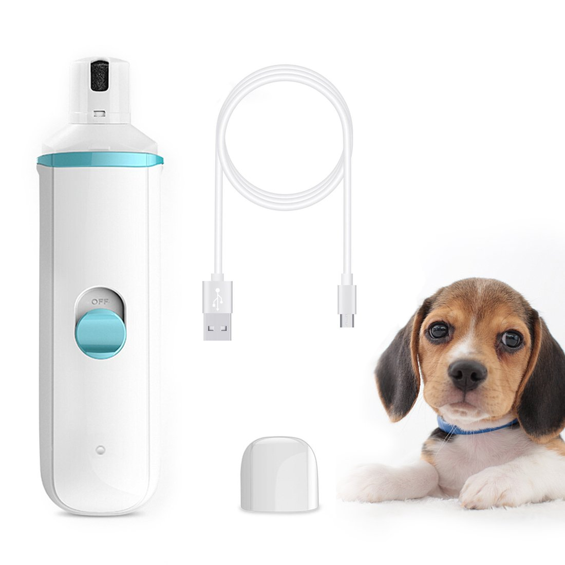 DIGDAN Dog Nail Grinder, Electric Pet Nail Grinder with USB Fast Charging for Gentle Painless Paws Grooming, Portable Low Noise Nail Clippers for Dogs, Cats and Other Animal Paws by DIGDAN (Image #2)