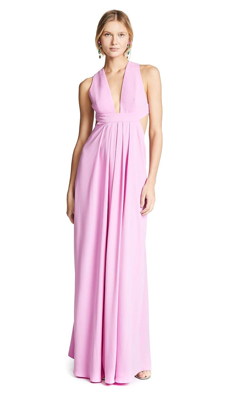 Sugar Pink Jill Jill Stuart Women's Plunging Neck Side Cutout 2Ply Crepe Gown