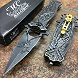 Collectors Knives Master Collection Ballistic Ti-coated Acid Etching Blade Ninja Fantasy Collector's Pocket Knife with Glass Breaker (STONEWASH)