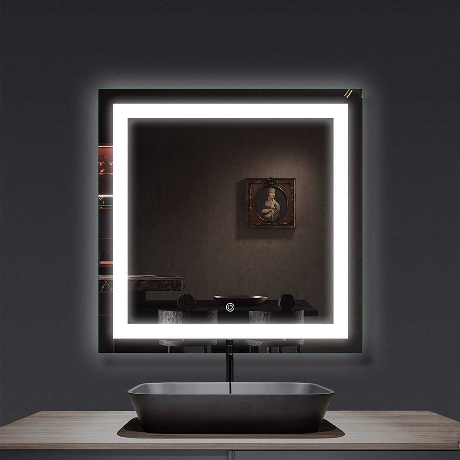 smartrun Square Wall Mounted LED Lighted Backlit Mirror 36x36 Bathroom Vanity Mirrors with Control Button Dimmable Light JAZZ3636