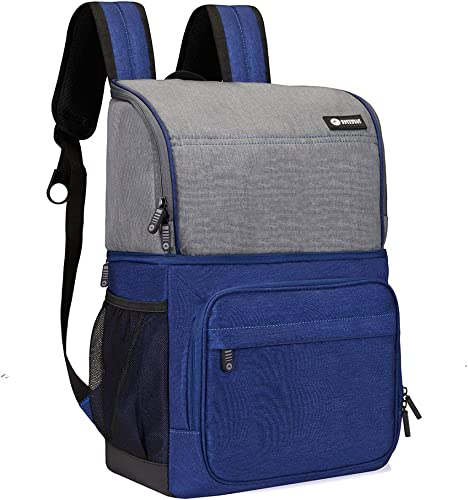 Easthills Outdoors Backpack Cooler 24 cans Insulated Leak-Proof Double Decker Lunch Cooler Backpack with Dry Storage Compartment for Camping, Hiking, Beach, Park or Day Trips, Blue Gray
