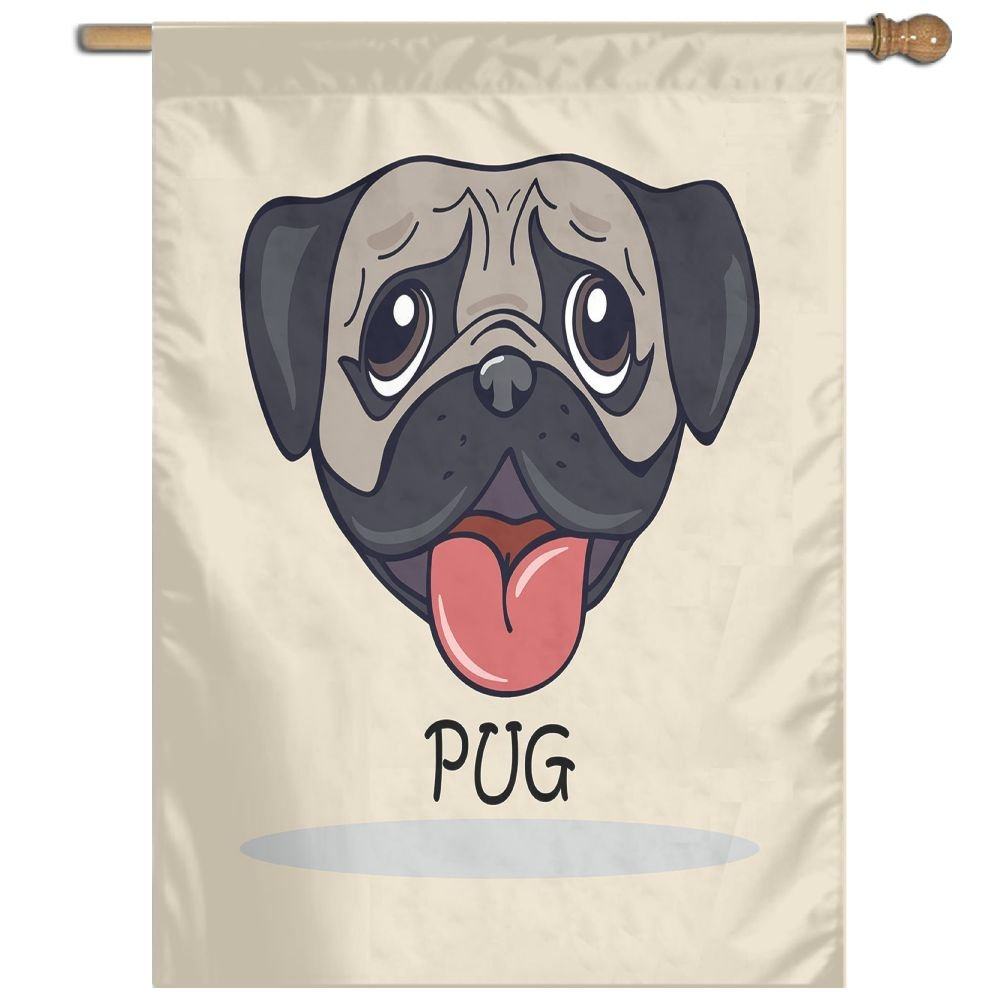 HUANGLING Cartoon Pug Dog Caricature With Its Tongue Out Happy Face Animal Fun Illustration Decorative Home Flag Garden Flag Demonstrations Flag Family Party Flag Match Flag 27''x37''