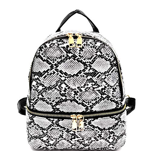 Small Mini Convertible Snakeskin Print Fashion Backpack Purse Shoulder Bag Neon Yellow Pink (Medium - Black) -