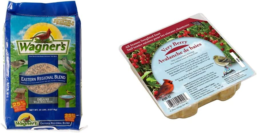 Wagner's 62004 Eastern Regional Wild Bird Food, 20-Pound Bag & Heath Outdoor Products DD-22 Very Berry Suet Cake, 9.25 oz., Case of 16