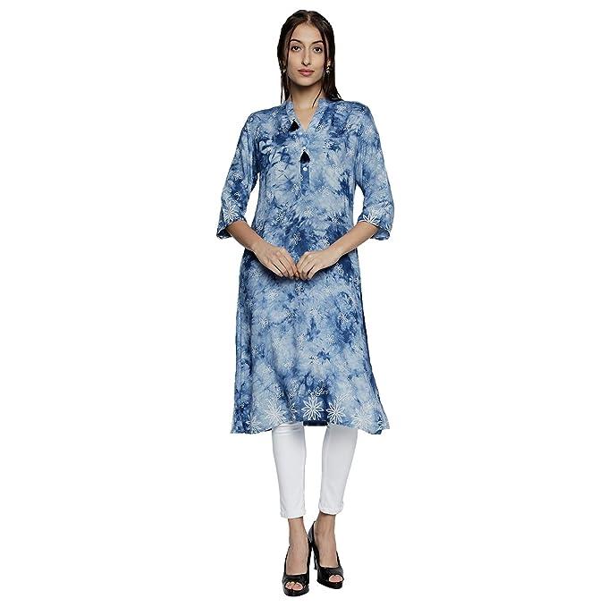 25309682f6 Denim Kurti for Women - 3 4th Sleeve V-neck Kurti - Ethnic wear for Women - Denim  Blue Color Tunic - Knee Length Kurta Shokhi Kurti for Women kurti for ...