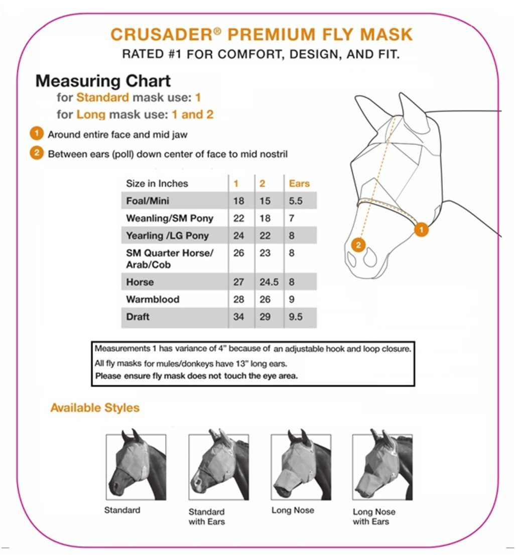 Cashel Crusader Horse Fly Mask, Long Nose with Ears 2