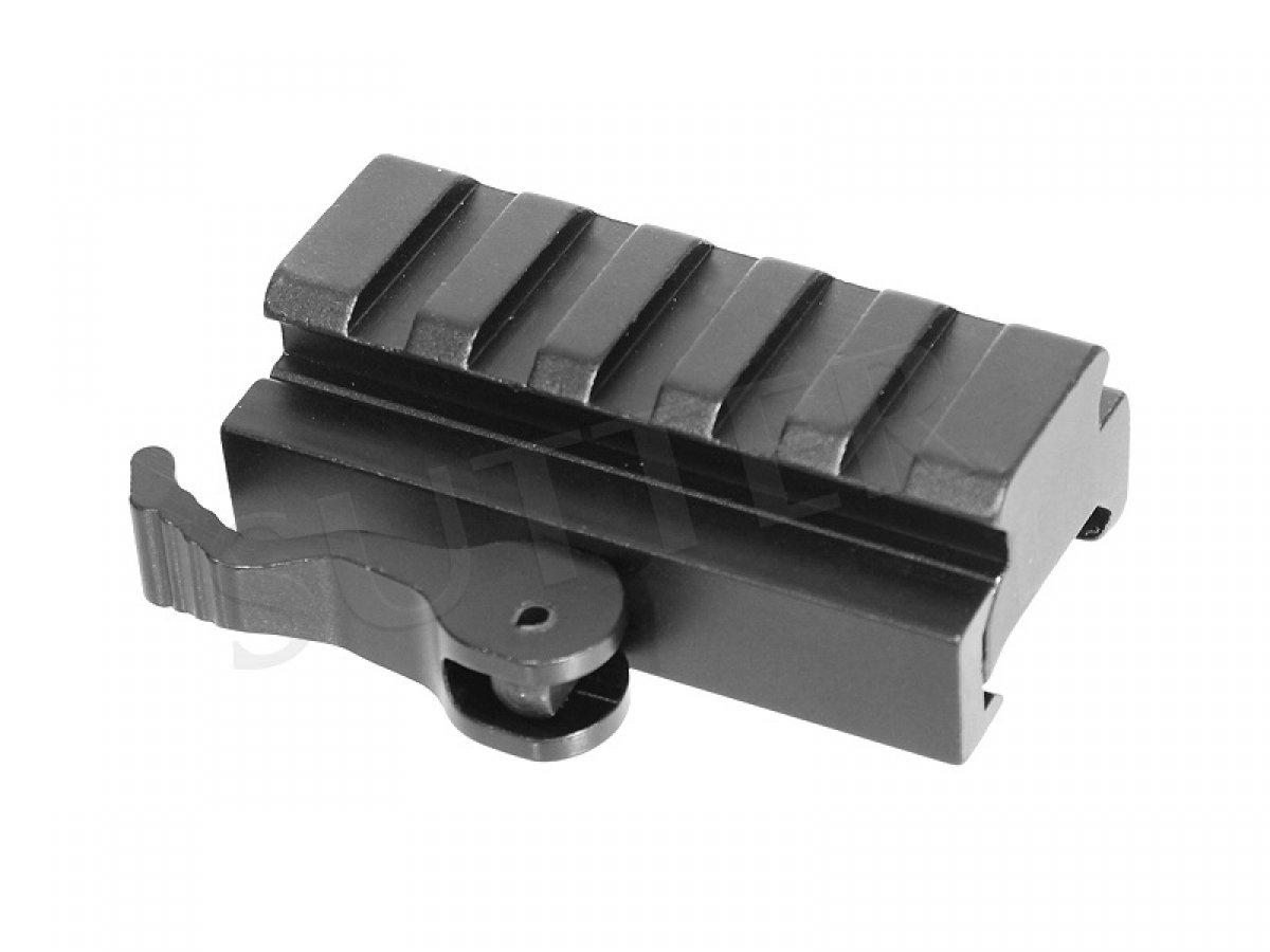 Adaptador de montaje de liberación rápida y adaptador de altura / Longitud 60 mm / Para rieles Weaver y Picatinny / Riel de montaje con cierre de liberación rápida SUTTER