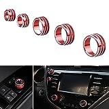 5PCS Red Aluminum Interior Audio Air Condition