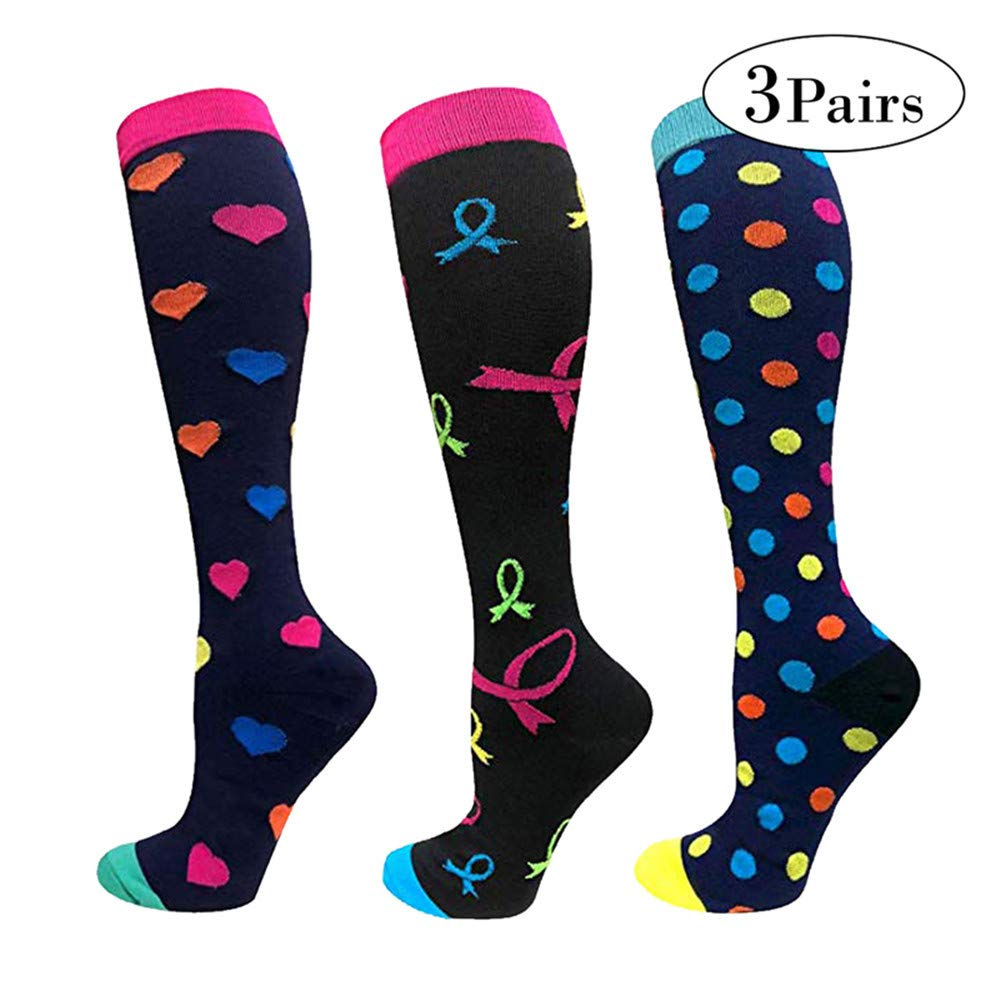 Puimentiua 3 Pairs Compression Socks for Women Athletic Fit for Running, Nurses, Shin Splints, Flight Travel & Maternity Pregnancy - Boost Stamina, Circulation & Recovery UK 8.5-11
