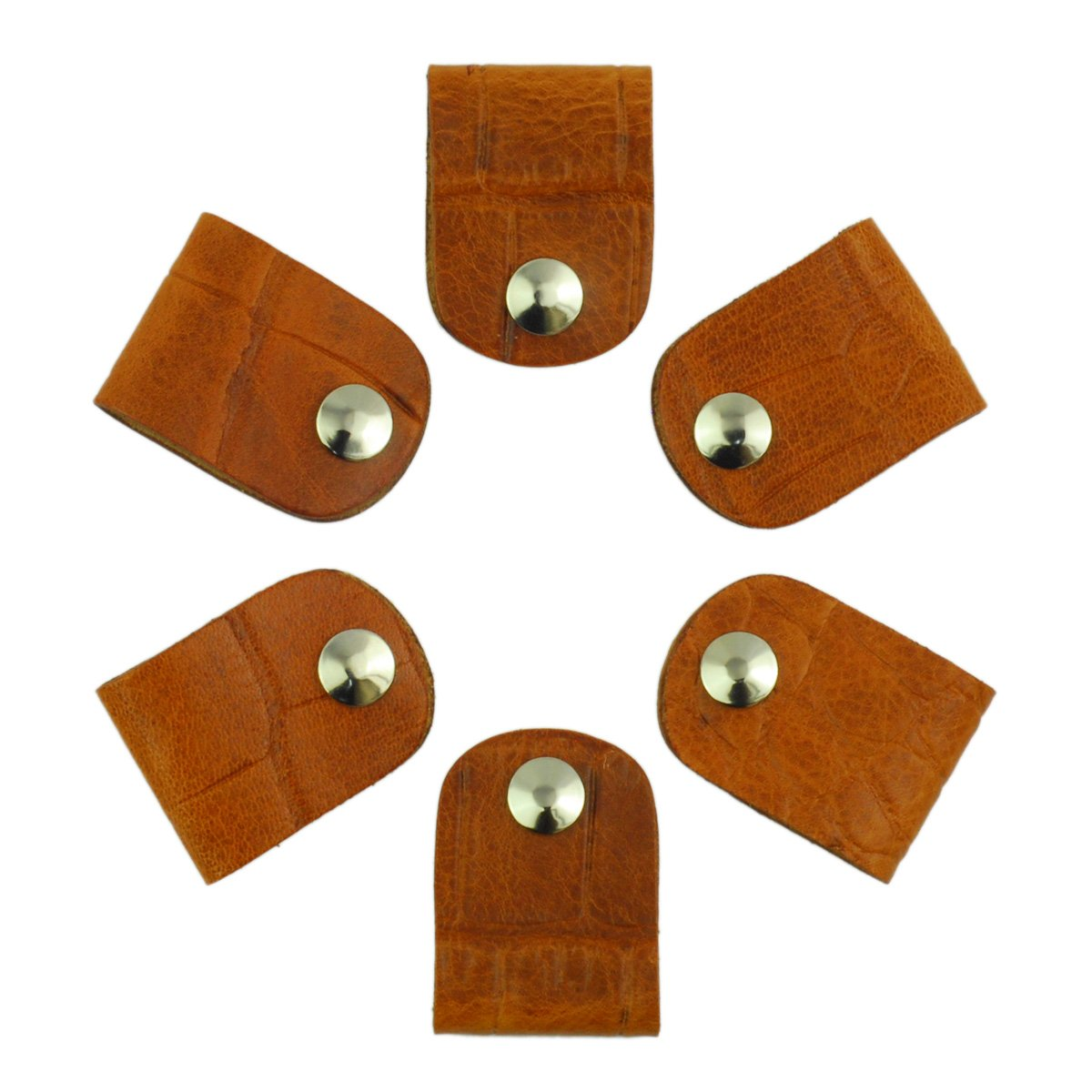 Leather Cord Orangizer Clips Set, 6 Snap Closed Pieces, Tan