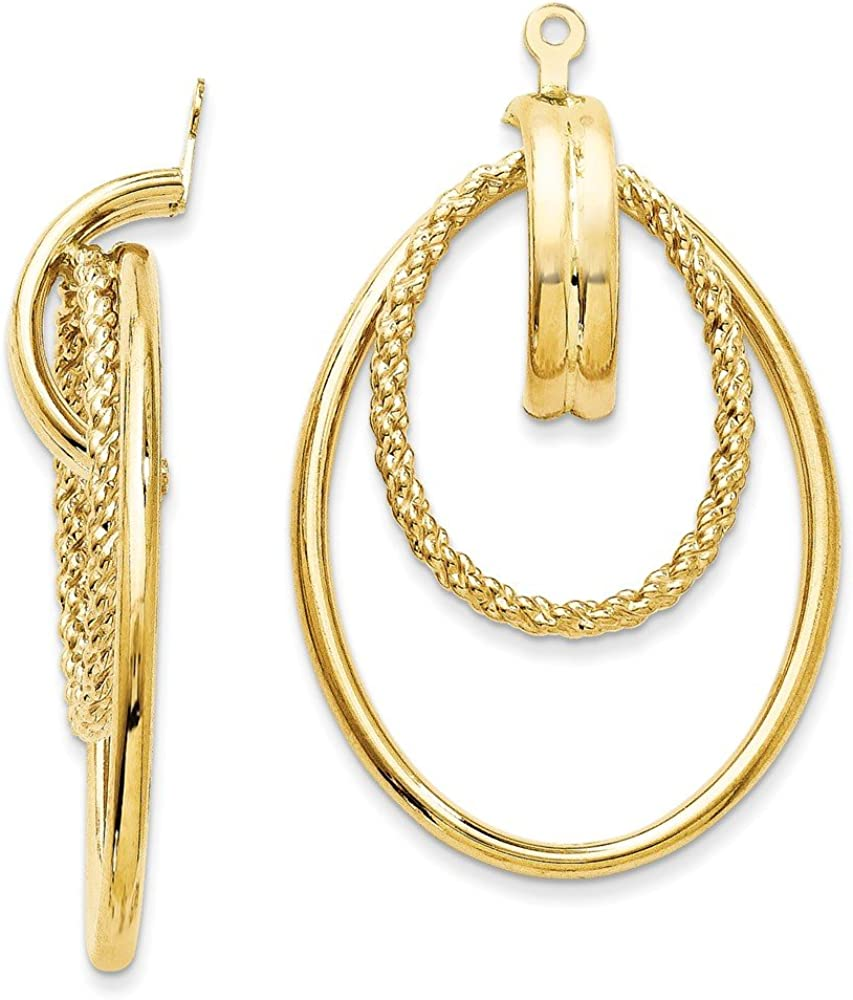 14kt Yellow Gold Polished Double Hoop Earring Jackets