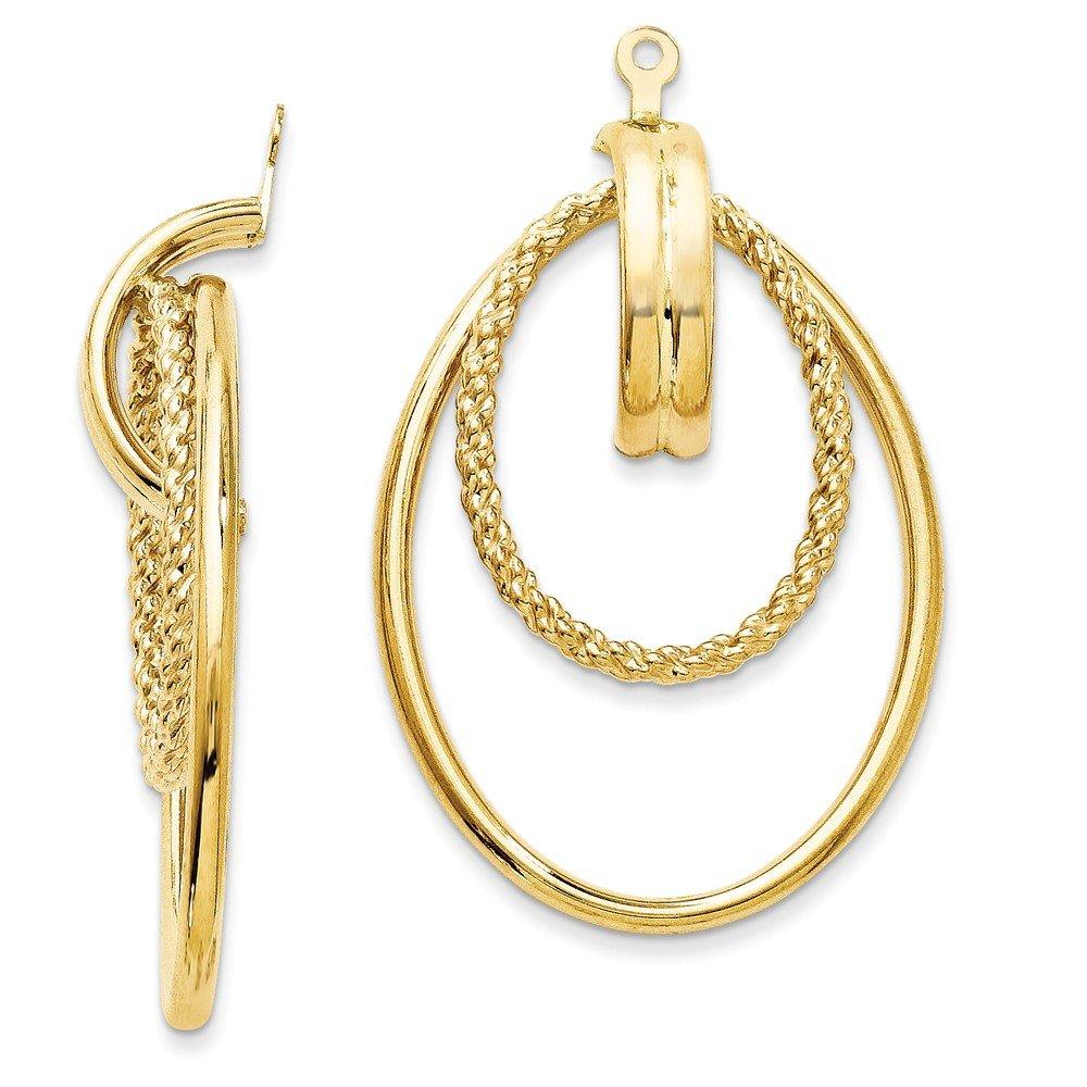14k Yellow Gold Double Hoop Earring Jackets