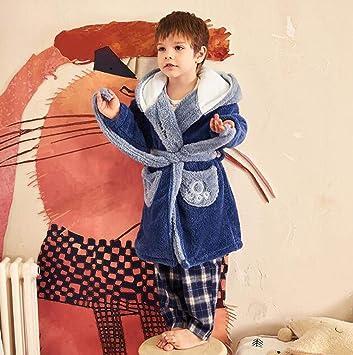 Bata Albornoz Chico Conjunto De Pijamas Camisones Ropa De Dormir Ropa De Noche Invierno Vellón De Coral Franela Grueso Dibujos Animados Azul Oso Cálido ...