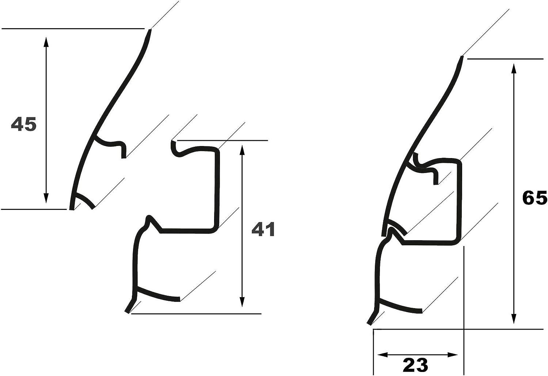 60x15 mm Verbinder VB.0109 integrierter Kabelkanal Kunststoff Fu/ßleisten PVC Moderne Laminatleiste riesige Auswahl Sockelleisten und Zubeh/ör