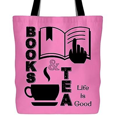 Amazon.com: Bolsa para la compra de libros y té con texto en ...