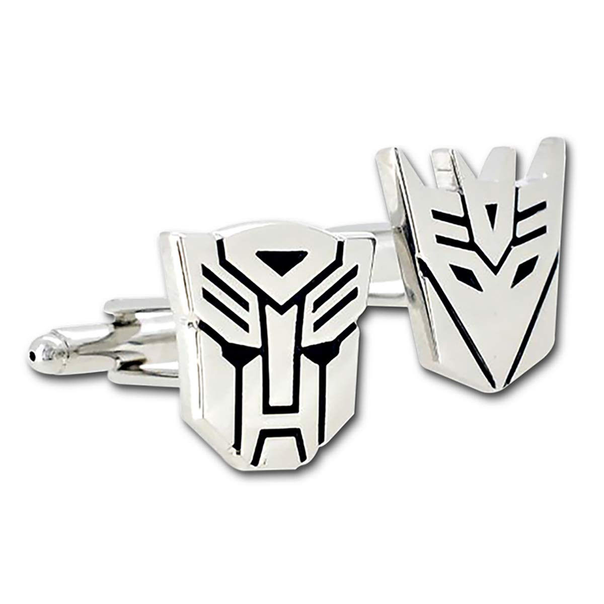 The Masonic Exchange Transformer Autobot and Decepticon Silver Cufflink Set - 7/8'' Tall
