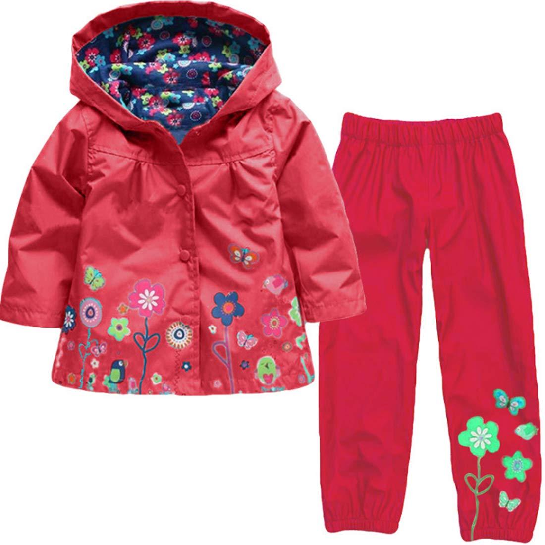 Fulision Little Girl Child Cute Flower Hooded Jacket Raincoat Girl 2-8 Years Old