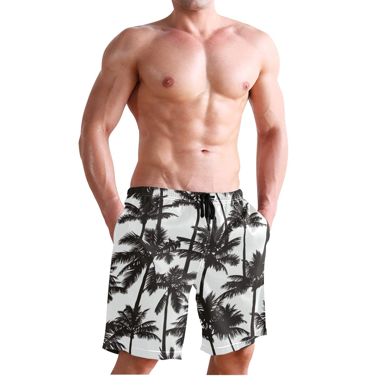 JERECY Mens Swim Trunks Tropical Black White Palm Tree Quick Dry Board Shorts with Drawstring and Pockets