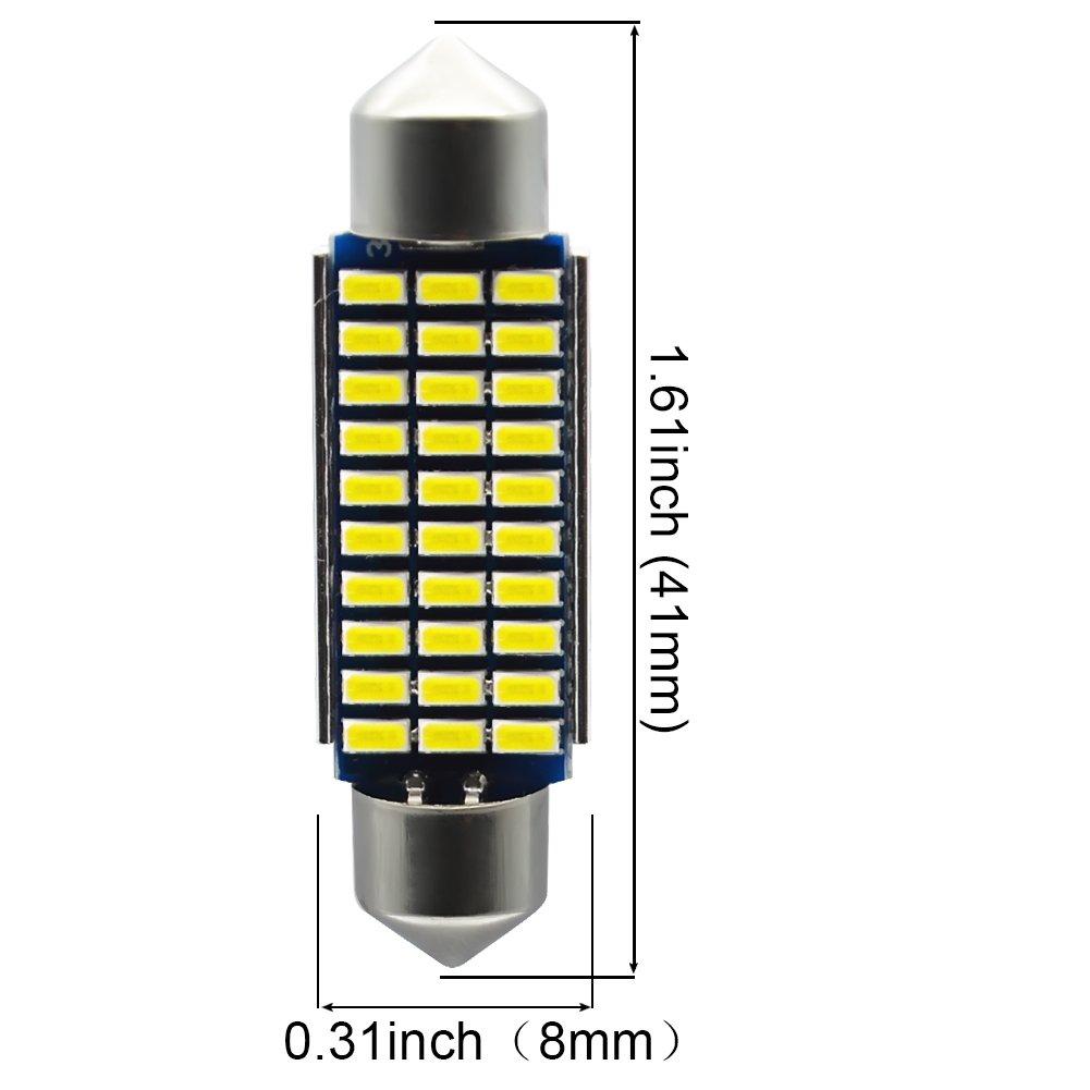 Kashine C5W LED Bulb 41mm Festoon LED Canbus Error Free Sidelight bulbs 30-3014 Dome Map Light for Car Interior License Plate Lights Courtesy Lights Lamp White 12V Pack of 4