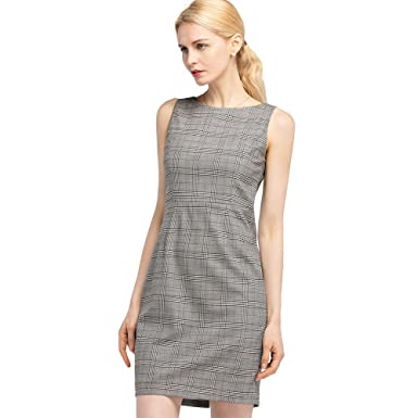 c12bba29fa85 LILYSILK Women's Shape-Flattering Sheath Dress Light Gray Plaid Pure Silk  Sheath Dress Size XXL