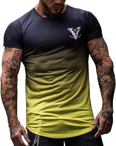 YanHoo Cuello Redondo de Moda para Hombre Elástico Degradado Color Elíptico Dobladillo Casual Camiseta de Manga Corta Camisa de Manga Corta Moda Hombre Gradiente Cuello Redondo: Amazon.es: Ropa y accesorios