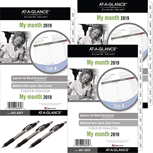 at-A-Glance Day Runner Monthly Planner Refill, January 2019 - December 2019, 5-1/2'' x 8-1/2'', Loose Leaf, Size 4 (061-685Y) 3 Pack - Bundle Includes 3 Black Ballpoint Pen by At-A-Glance