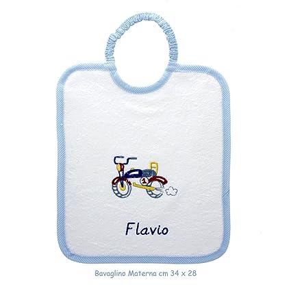 Coccole - Babero con nombre personalizado de color azul con una moto - Ideal para guardería