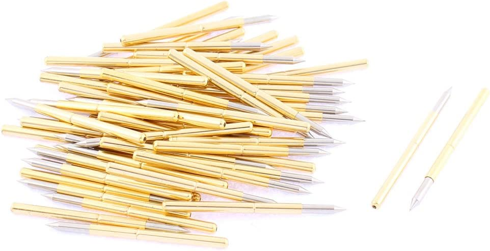 uxcell P125B Spear Tip Spring Loaded Test Probe Pin 33mm Length 60Pcs