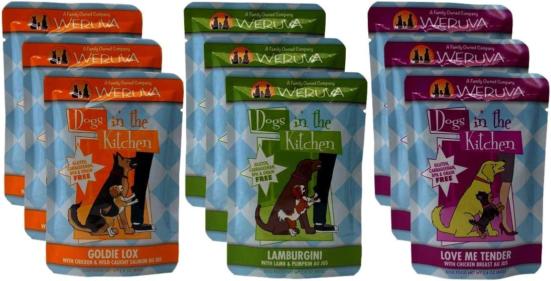 Weruva Dogs In The Kitchen Grain Free Dog Food 3 Flavor Variety 9 Pouch Bundle 3 Love Me Tender, 3 Goldie Lox, and 3 Lamburgini, 2.8 Oz. Ea. 9 Pouches Total