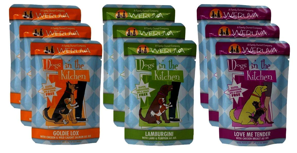 Weruva Dogs In The Kitchen Grain Free Dog Food 3 Flavor Variety 9 Pouch Bundle: (3) Love Me Tender, (3) Goldie Lox, and (3) Lamburgini, 2.8 Oz. Ea. (9 Pouches Total) by Weruva