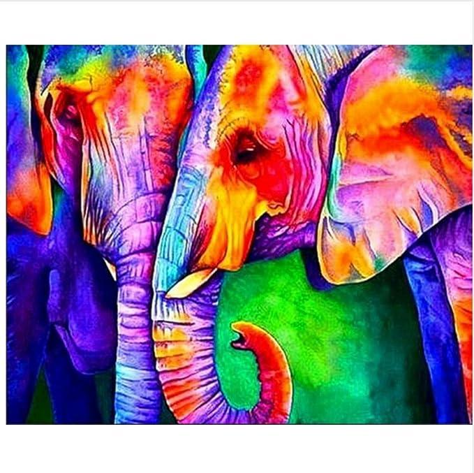 WACYDSD Pintura por Números Dos Elefantes De Colores Pintura Al ...