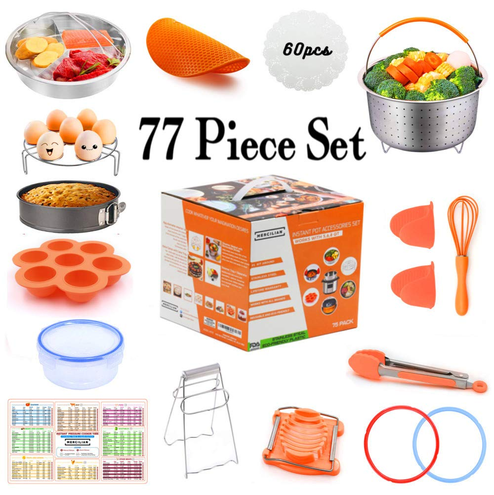 Instant Pot Electric Pressure Cooker 77 Pcs Accessories Set | 6qt & 8qt | Sealing Ring Gasket, Non Stick Springform Pan, Egg Mould Bites, Stainless Steel Steamer Basket, Kitchen Tongs, Magnet And More