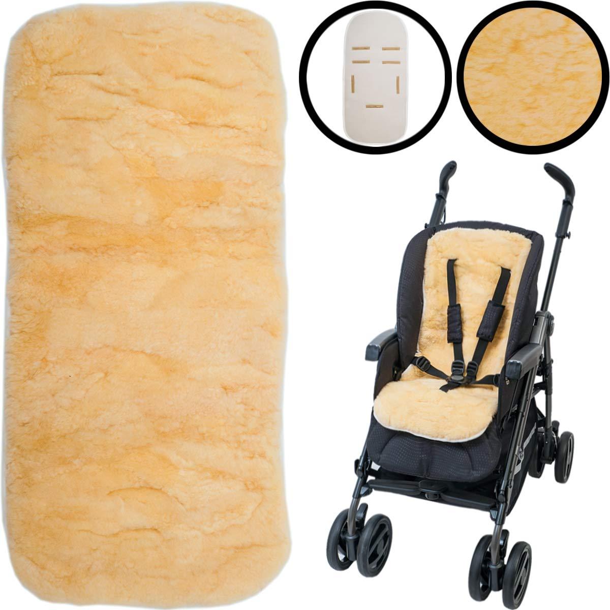 100% Lammfell Auflage fü r Buggy und Kinderwagen / 5-Punkte-Gurtsytem geeignet 12-36 Monate Stimo