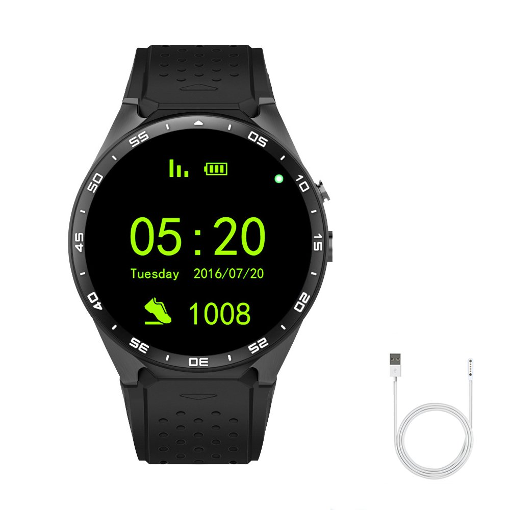 Smart Watch Bluetooth Heart Rate Pedometer Support 3G WIFI GPS Navigation Cell Phone for Android and IOS Smartwatch (black)