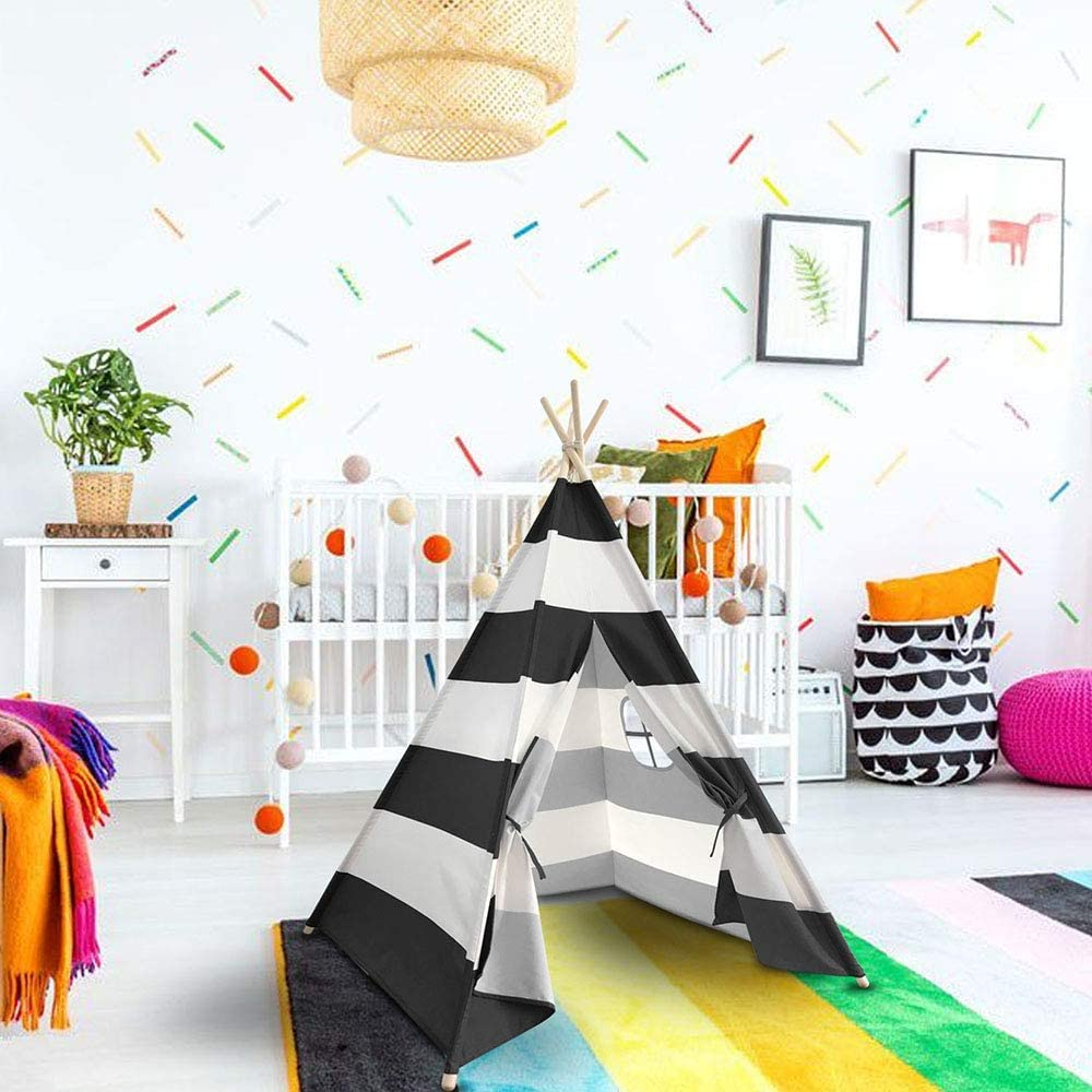 scriptract Kids Teepee Tent Playhouse 100/% Natural Cotton Canvas with Window /& Carrying Bag Foldable Tipi for Indoor /& Outdoor Black