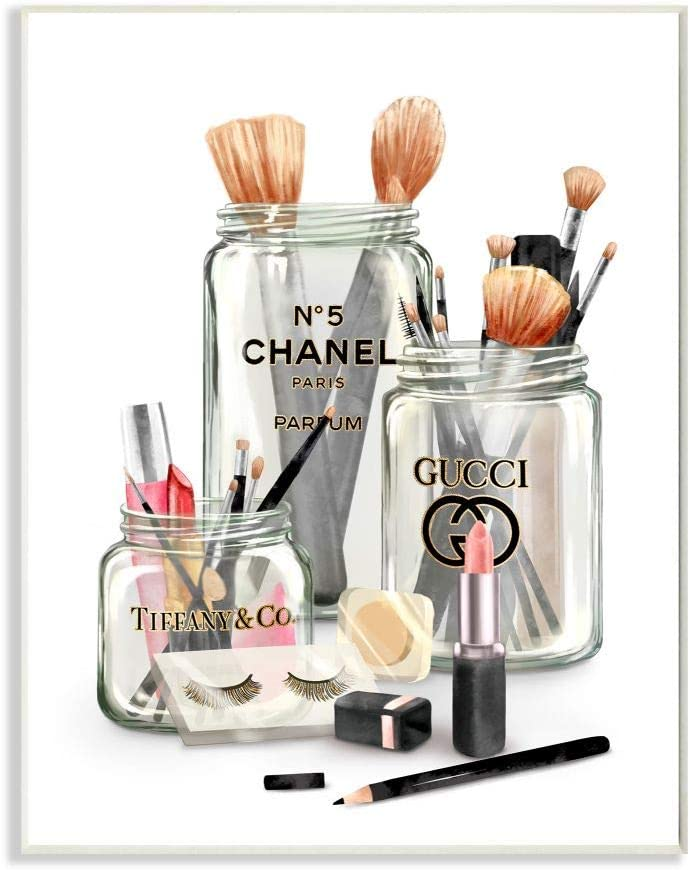 Stupell Industries Fashion Brand Makeup in Mason Jars Glam Design, Designed by Ziwei Li Art, 10 x 0.5 x 15, Wall Plaque