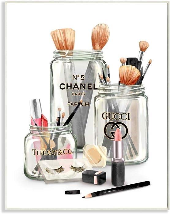 Stupell Industries Fashion Brand Makeup in Mason Jars Glam Design, Designed by Ziwei Li Art, 10 x 0.5 x 15, Wall Plaque
