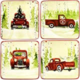 Park Designs Christmas Vacation Dessert Plates (Set of 4), Multicolor (871-652)