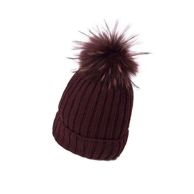 Enzianblau, Berretto lavorato a maglia con pelliccia vera, pelliccia Bommel,  in lana, berretto invernale, cappello, modello con scanalature braun mit  Bommel ...