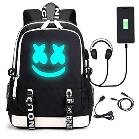 621d40ad7b67 PIESWEETY Marshmallow Backpack Luminous DJ Marshmello with USB Charging  Port, Unisex Fashion Travel Laptop Backpack …