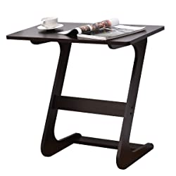 TANGKULA Sofa Table Wood Z Style Portable Home TV Snack End Side Table
