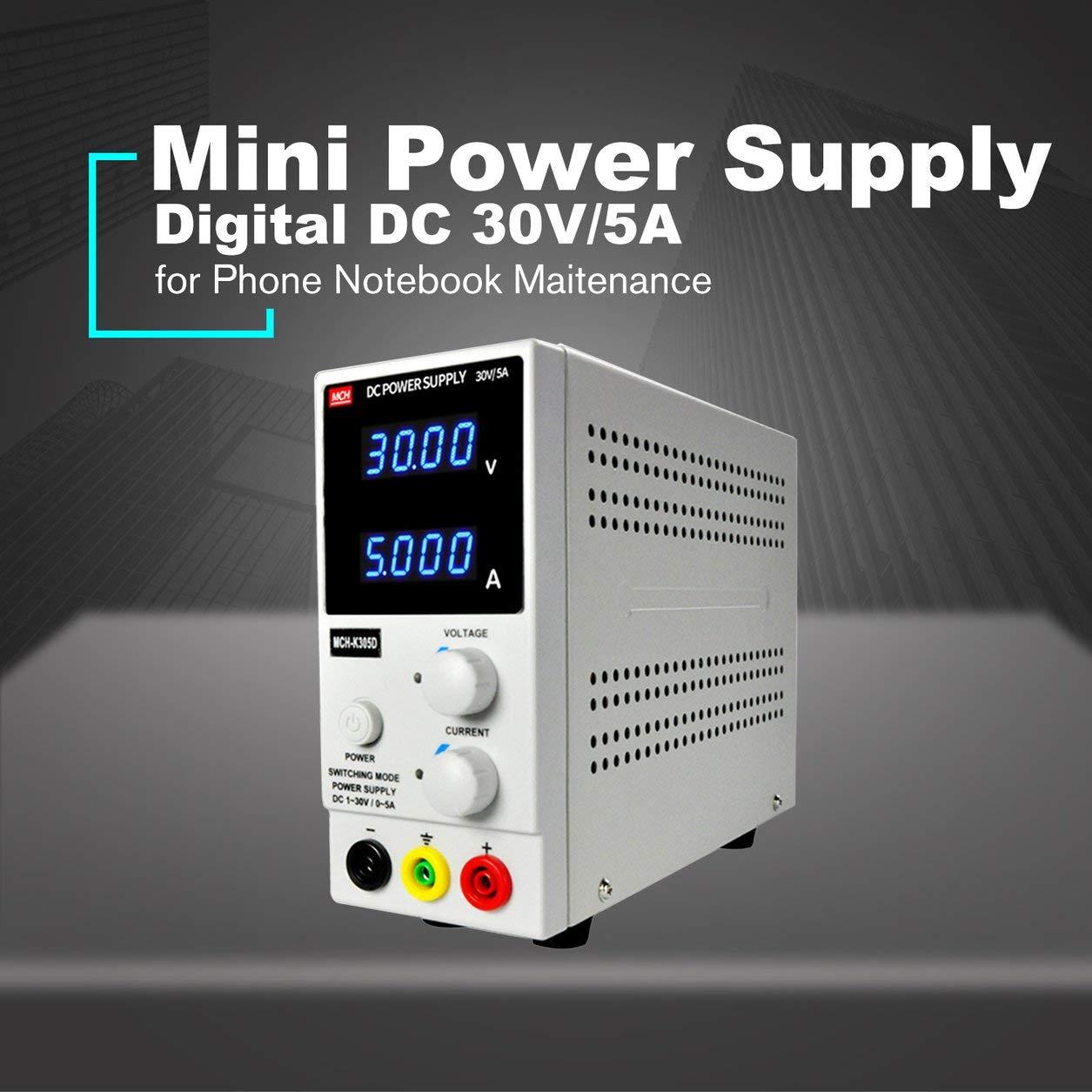 Dailyinshop 30V / 5A Mini Fuente de alimentación alimentación alimentación Digital DC Corriente Voltaje de Pantalla Ajuste Ajustable (Color: Blanco) 96dd69